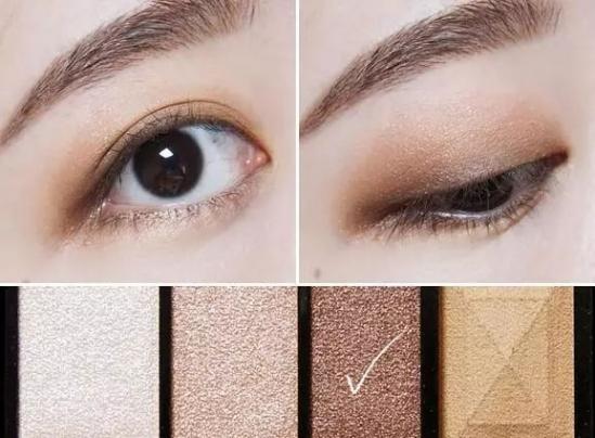 新手大地色眼影画法教程 step2:用带有金属光泽的珠光眼影晕染在步骤
